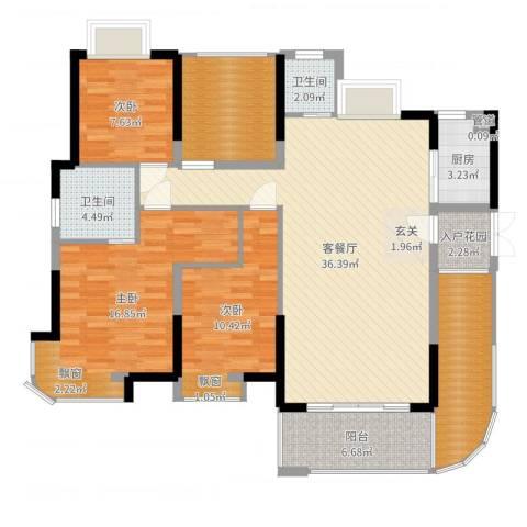 永鸿御景湾3室3厅3卫1厨132.00㎡户型图