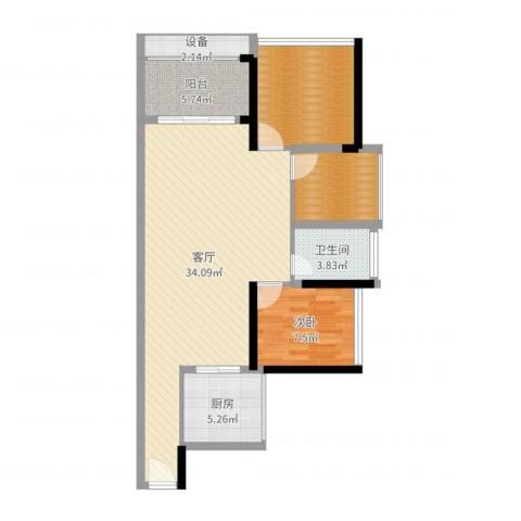 畔山名居・特区青年1室1厅1卫1厨92.00㎡户型图
