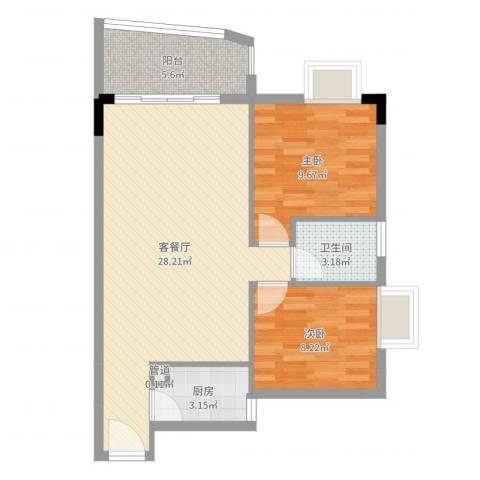 臻品云山2室2厅1卫1厨73.00㎡户型图