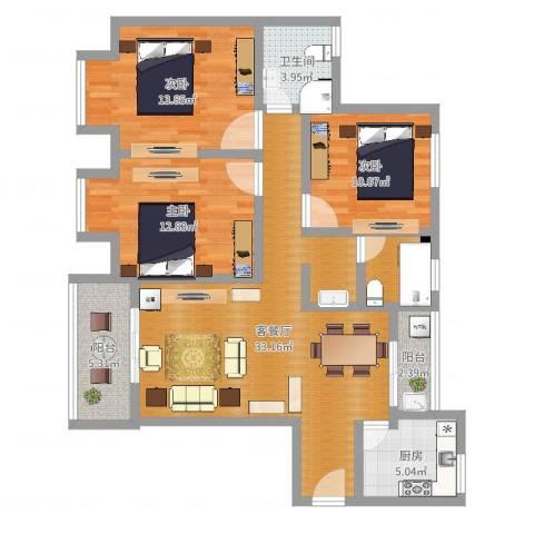 银康苑(三室一厅1)3室2厅1卫1厨112.00㎡户型图