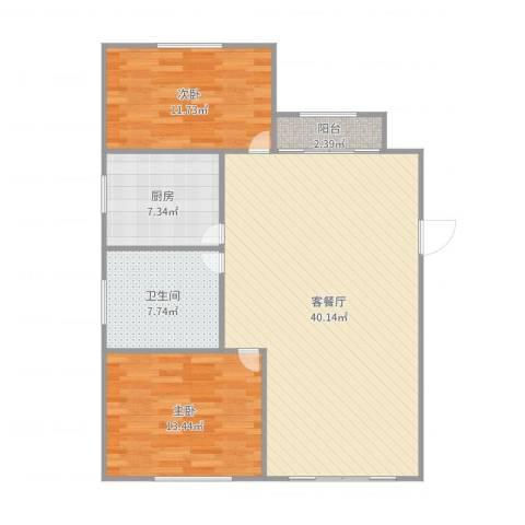 大华锦绣华城第19街区2室2厅1卫1厨103.00㎡户型图