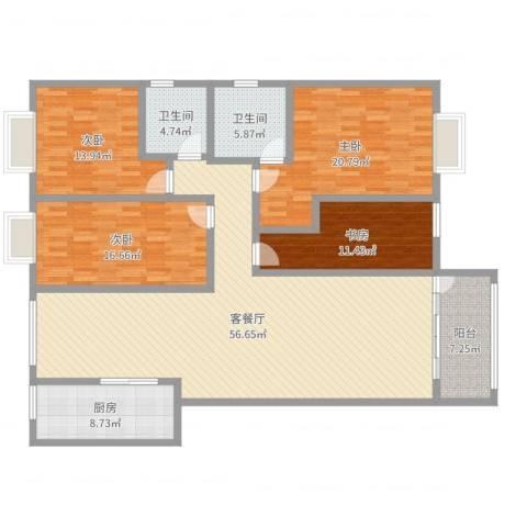 解甲园4室2厅2卫1厨183.00㎡户型图