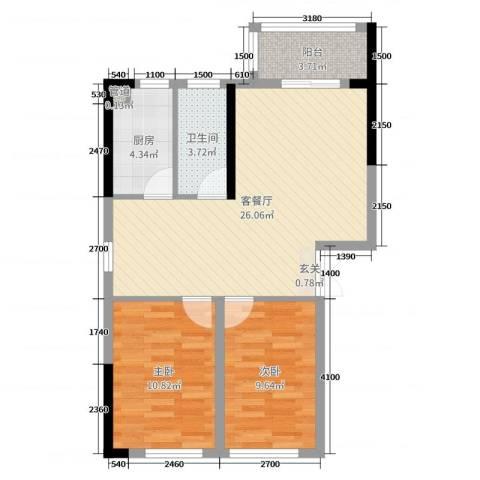 和庄二期2室2厅1卫1厨83.00㎡户型图