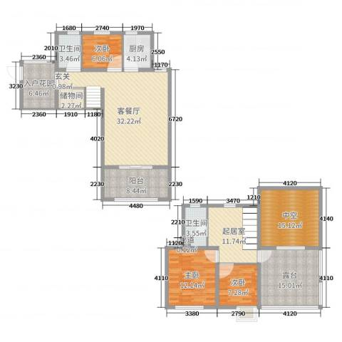 19803室2厅2卫1厨141.00㎡户型图