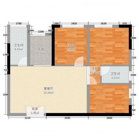 和庄二期2室2厅2卫0厨88.00㎡户型图