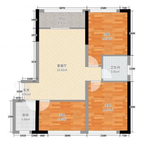 和庄二期3室2厅1卫1厨93.00㎡户型图