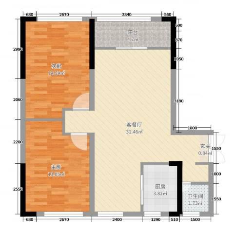 和庄二期2室2厅1卫1厨94.00㎡户型图