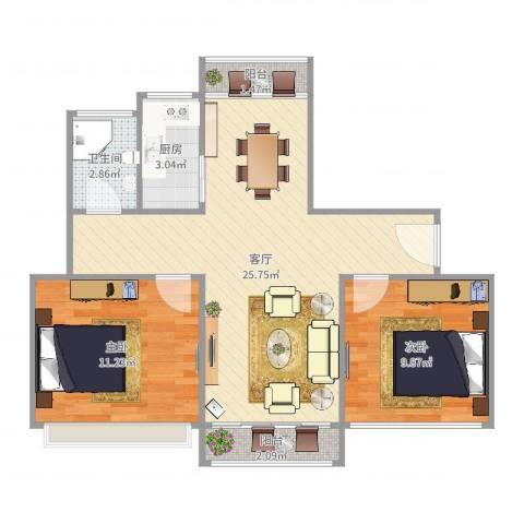 锦华东南苑2室1厅1卫1厨96.00㎡户型图