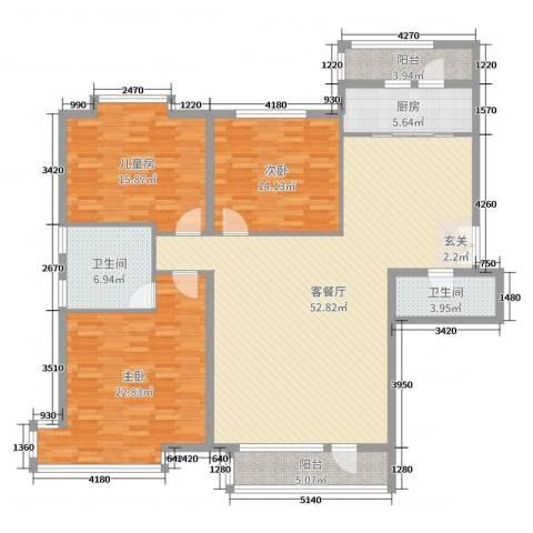 兴泰东河湾3室2厅2卫1厨164.00㎡户型图