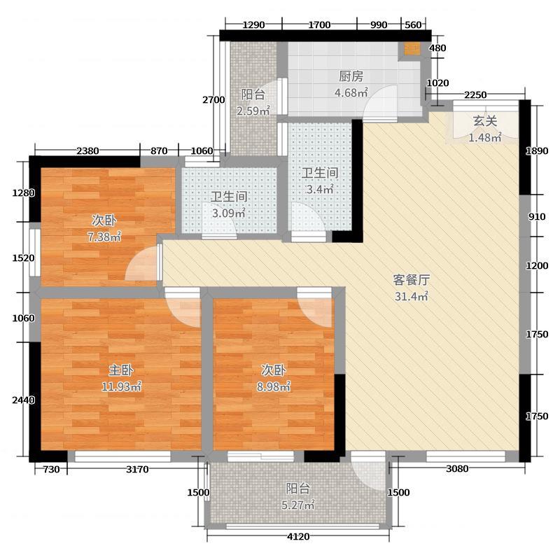 和庄二期113.14㎡C-3户型3室3厅2卫1厨