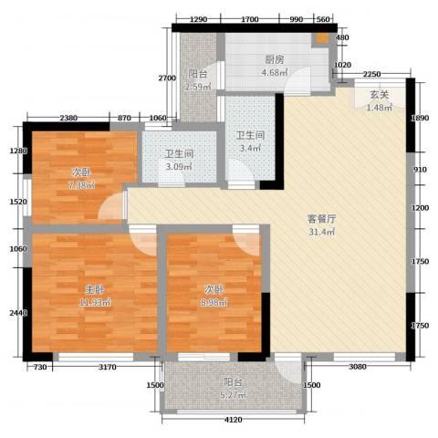 和庄二期3室2厅2卫1厨113.00㎡户型图