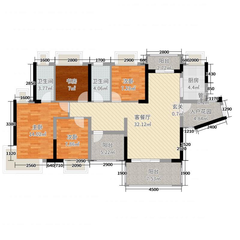 悦湖苑135.04㎡1#01/04奇数层3-19层户型5室5厅2卫1厨