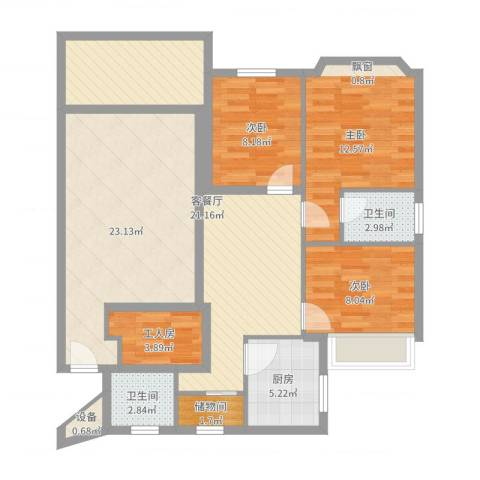 王府花园3室2厅4卫2厨113.00㎡户型图