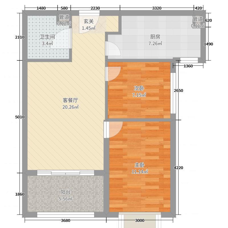北京恒大文化旅游城69.00㎡公寓E户型2室2厅1卫1厨