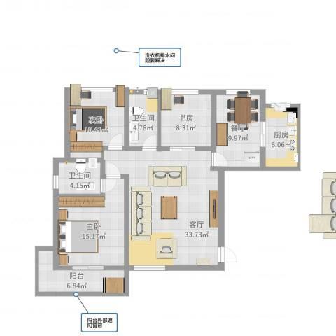 融侨城3室2厅2卫1厨124.00㎡户型图