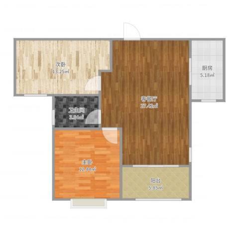 银丰唐郡荷花园2室2厅1卫1厨91.00㎡户型图