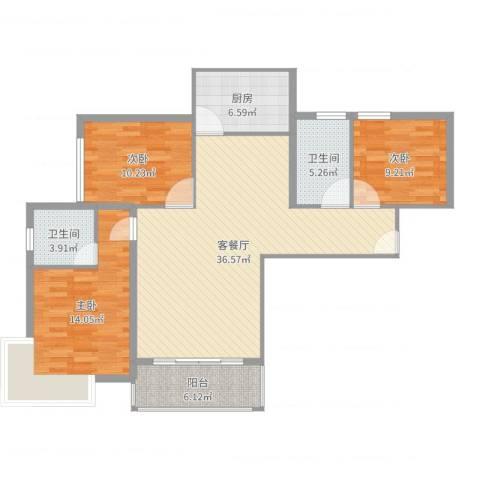 宝丰绿洲3室2厅2卫1厨115.00㎡户型图
