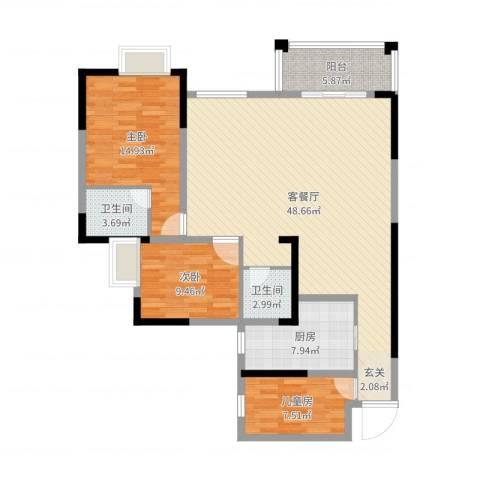 滨江翡翠城3室2厅2卫1厨126.00㎡户型图