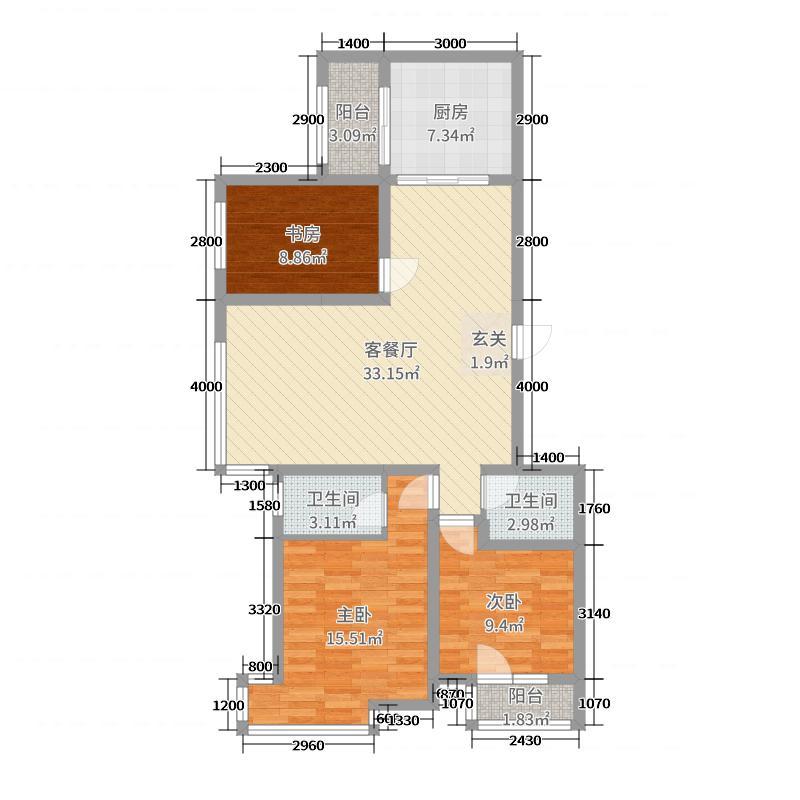 万泰锦绣华城三期116.00㎡Gd8户型3室3厅2卫1厨