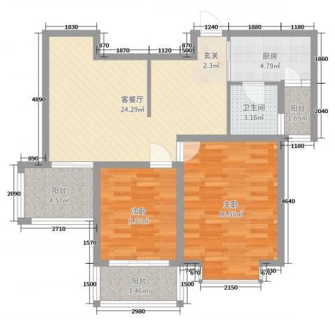 信达丽城二期2室2厅1卫1厨86.00㎡户型图