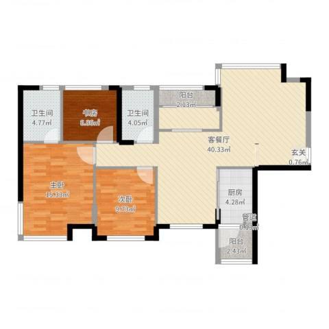 鹿港小镇3室2厅2卫1厨113.00㎡户型图