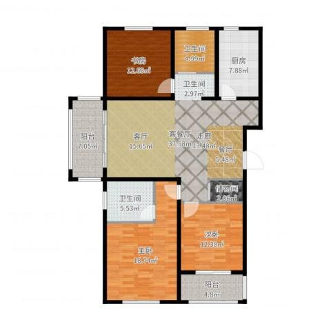 同科・汇丰国际3室2厅2卫1厨142.00㎡户型图