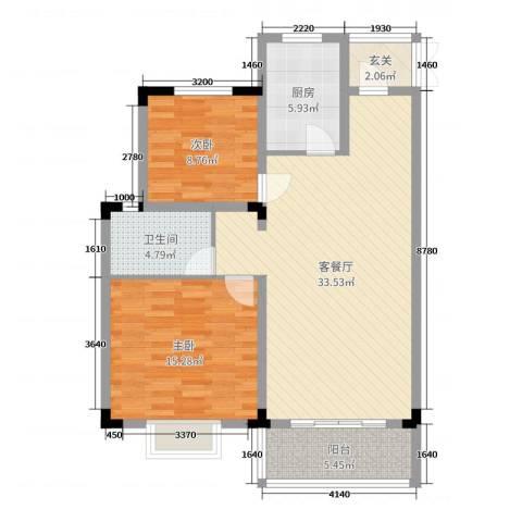 金茂国际2室2厅1卫1厨95.00㎡户型图