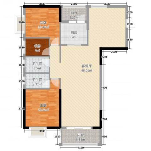 金汇豪庭3室2厅2卫1厨120.00㎡户型图