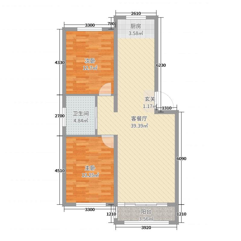 丽景苑・哈林格尔95.40㎡C户型2室2厅1卫1厨
