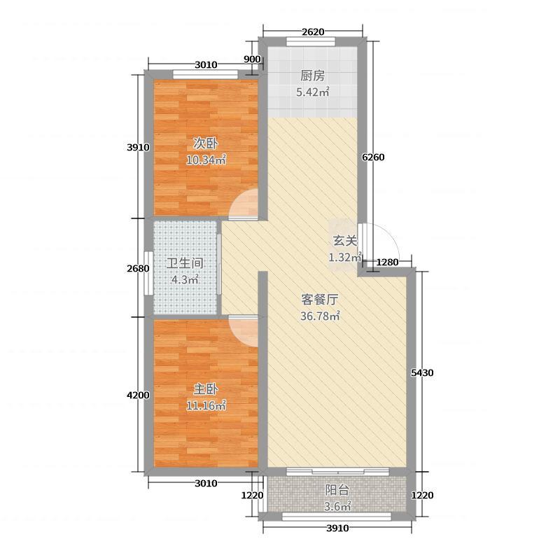 丽景苑・哈林格尔87.90㎡B户型2室2厅1卫1厨