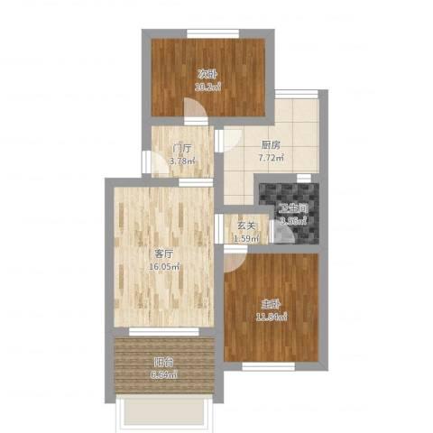 河沿庄2室1厅1卫1厨77.00㎡户型图