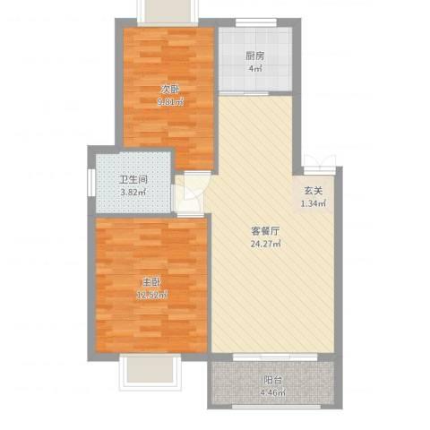 香榭丽都2室2厅1卫1厨74.00㎡户型图