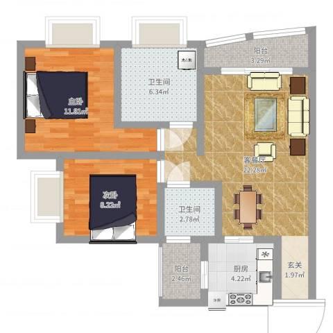 奥运花园2室2厅2卫1厨77.00㎡户型图