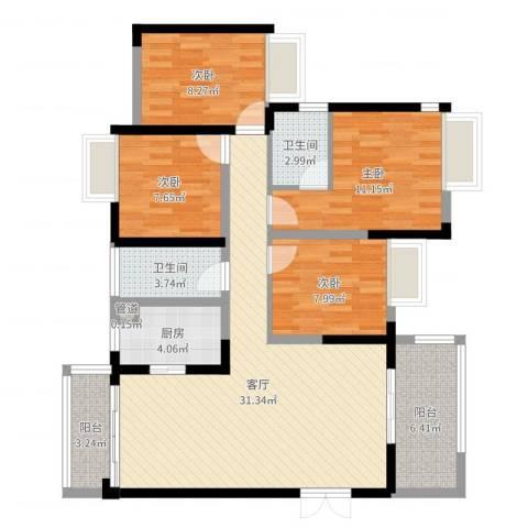 江湾公馆(一期)4室1厅2卫1厨109.00㎡户型图