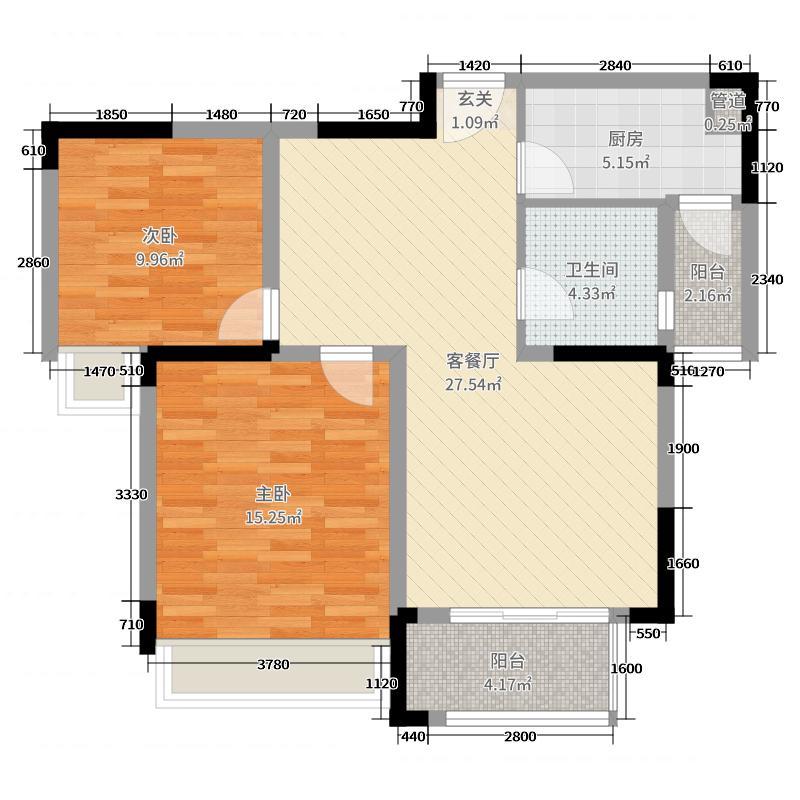 新湖明珠城86.00㎡三期紫桂苑西区17#标准层A2户型2室2厅1卫1厨