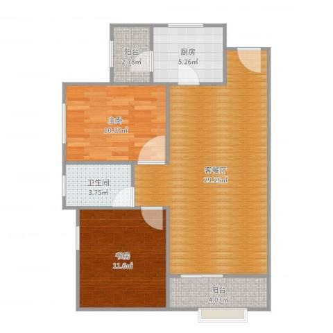 锦盛新城2室2厅1卫1厨84.00㎡户型图