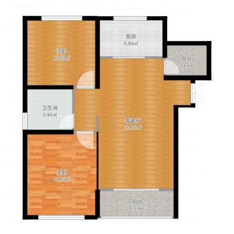中科苑2室2厅1卫1厨105.00㎡户型图
