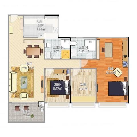 顺府江南3室1厅2卫1厨125.00㎡户型图
