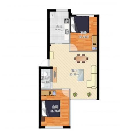 龙乡小区2室1厅1卫1厨69.00㎡户型图