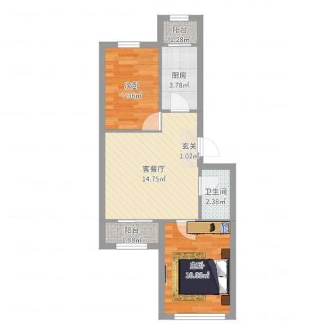 龙乡小区2室2厅1卫1厨52.00㎡户型图