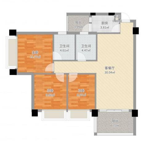 景湖春天3室2厅2卫1厨104.00㎡户型图
