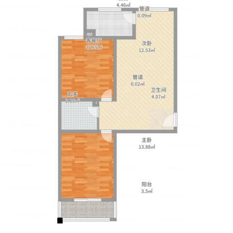 五龙花园2室2厅1卫1厨93.00㎡户型图