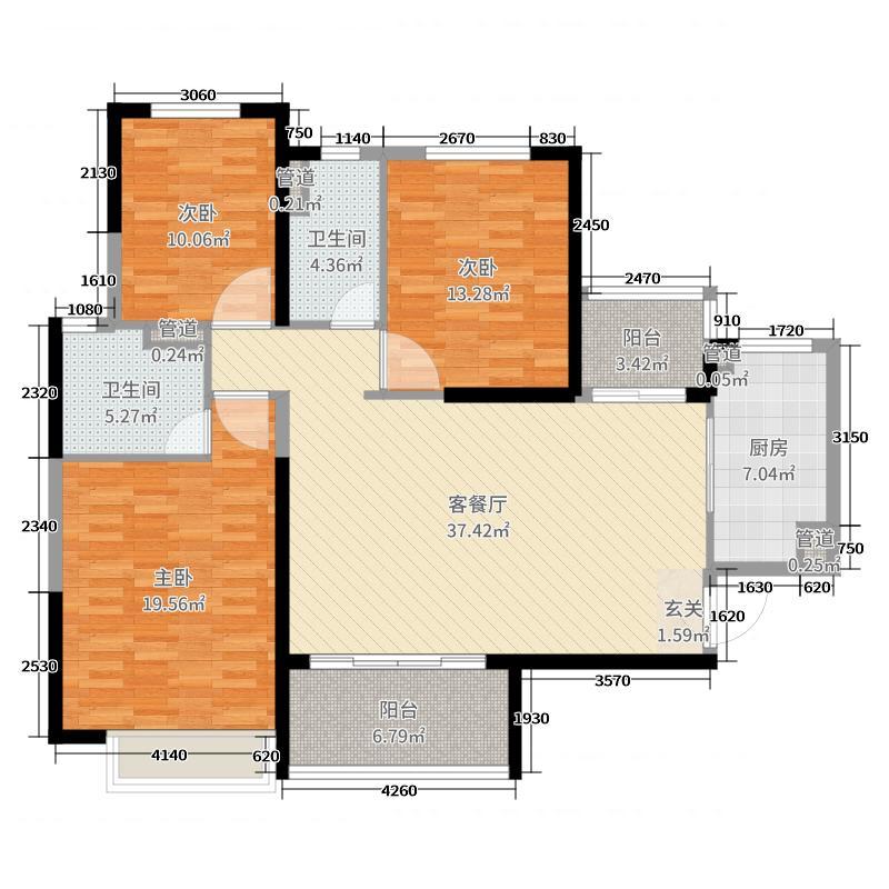 恒大翡翠华庭134.94㎡3号楼一单元4户型3室3厅1卫2厨