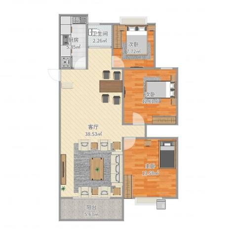领域・阳光花园3室1厅1卫1厨108.00㎡户型图