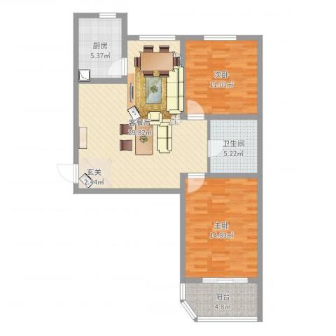 玉门河小区2室2厅1卫1厨89.00㎡户型图