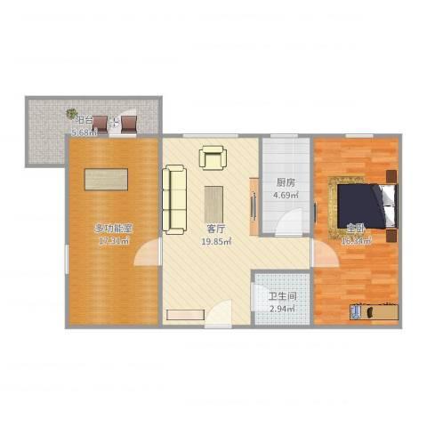 西坝河西里1室1厅1卫1厨84.00㎡户型图