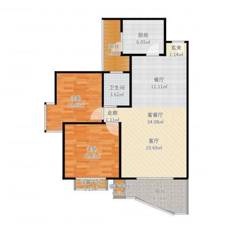 云湖花园2室2厅1卫1厨100.00㎡户型图