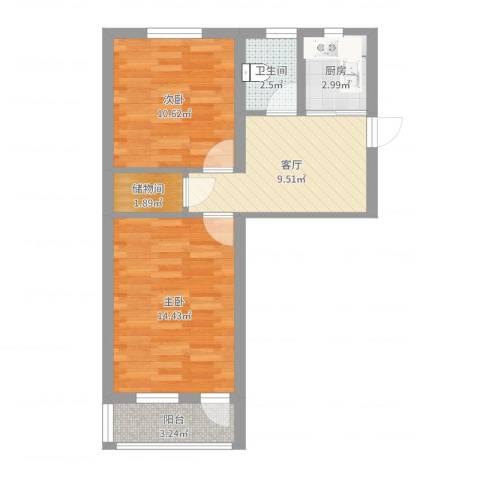 曹张新村2室1厅1卫1厨56.00㎡户型图