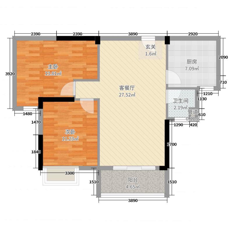 太一・御江城88.34㎡二期A1户型2室2厅1卫1厨