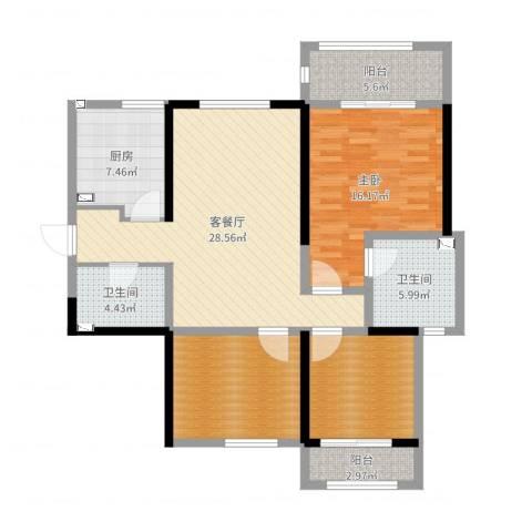 高新大都荟1室2厅2卫1厨114.00㎡户型图